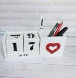 Portalápices de escritorio blanco en madera, Organizador de escritorio original con cal...