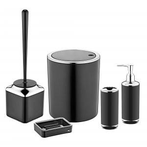 Herzberg HG-OKY6321: Juego de baño de 5 piezas - Color de doble capa Negro