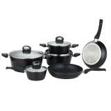 Herzberg Juego de utensilios de cocina forjados de 10 piezas Negro