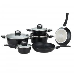 Herzberg HG-8079: Juego de utensilios de cocina forjados de 10 piezas Negro