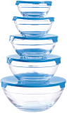 Herzberg HG-5007: Juego De Tazones De Vidrio De 10 Piezas Azul