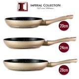 Imperial Collection IM-FFM: Juego de 3 Sartenes con Revestimiento de Mármol (20cm, 24cm...)