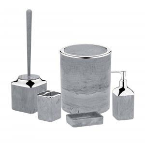 Herzberg HG-OKY5141: Juego de baño de 5 piezas - Mármol de piedra Gris oscuro