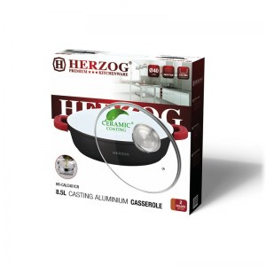 Herzog HR-CALC281CR; Cazuela de cerámica de aluminio 28 cm 3.8L Rojo