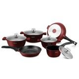 Herzog HR-ST16M: Juego de utensilios de cocina de fundición a presión de 16 piezas Borgoña