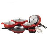 Herzog HR-ST16M: Juego de utensilios de cocina de fundición a presión de 16 piezas Rojo