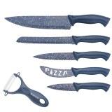 Herzog HR-SY5: Juego de cuchillos de acero inoxidable con revestimiento de mármol de 6...