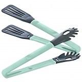 Herzberg Cooking HG-2N1CK4BLU: Pinzas para platos de nailon azul 2 en 1