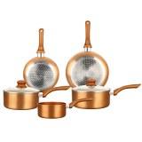 Herzberg HG-8044COP: Juego de Utensilios Metálicos de Cobre de 7 Piezas