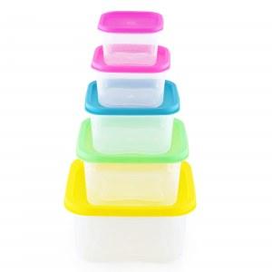 Herzberg HG-SFS5N1: Juego de recipientes cuadrados para almacenamiento de alimentos 5...
