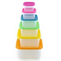 Herzberg Juego de recipientes cuadrados para almacenamiento de alimentos 6 en 1