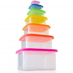 Herzberg HG-SFS7N1: Juego de recipientes cuadrados para almacenamiento de alimentos 7...