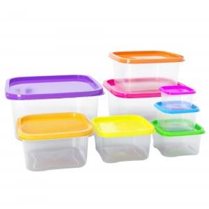 Herzberg HG-SFS8N1: Juego de recipientes cuadrados para almacenamiento de alimentos 8...
