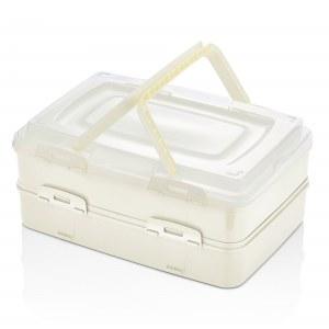 Herzberg Caja de transporte de pastelería para llevar dúplex Marfil