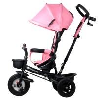 Kinderline TRC-711.1 PINK: 4 en 1 cochecito triciclo para bebés y niños pequeños - Rosa