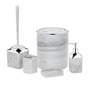 Herzberg HG-OKY5141: Juego de baño de 5 piezas - Mármol de piedra Gris claro