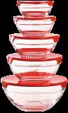 Herzberg HG-5007: Juego De Tazones De Vidrio De 10 Piezas Rojo