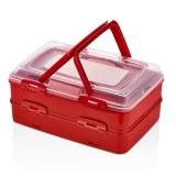 Herzberg HG-L718: Caja de transporte de pastelería para llevar dúplex Rojo