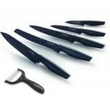Royalty Line RL-MB5; Revestimiento antiadherente del cuchillo de 5PCS Negro