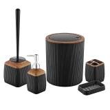 Herzberg HG-OKY5013: Juego de baño de 5 piezas - Acento de madera Negro