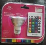 Lote de Bombillas Dicroicas LED GU10, RGBW de 5W con mando a distancia