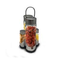 Herzberg HG-6006; Estante con botellas de aceite y frascos de especias