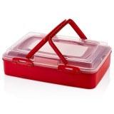 Herzberg Caja de transporte de pastelería para llevar de un solo nivel Rojo